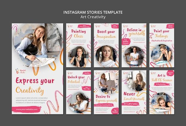 Art and creativity instagram stories template Premium Psd