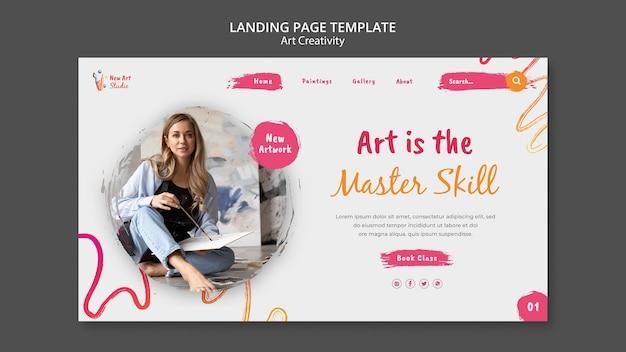 Modello di pagina di destinazione per arte e creatività