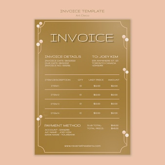 Art deco musical invoice template