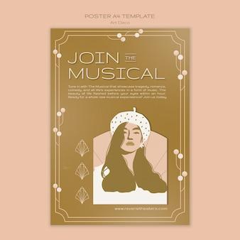 Art deco musical print template
