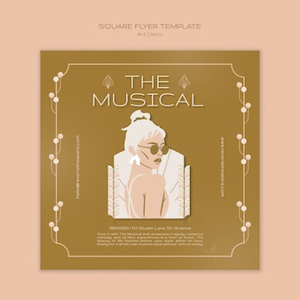 Art deco musical square flyer