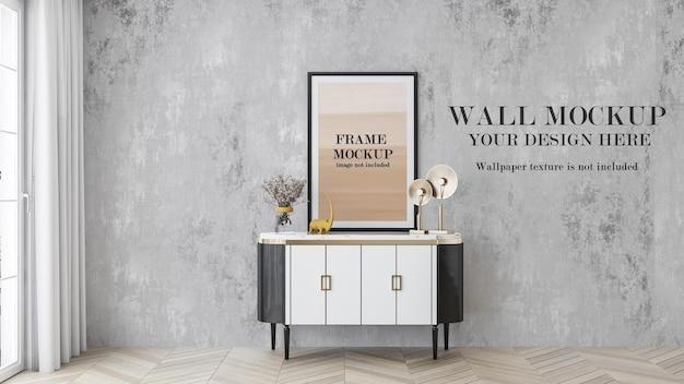 Интерьер стены в стиле ар-деко и макет рамки плаката