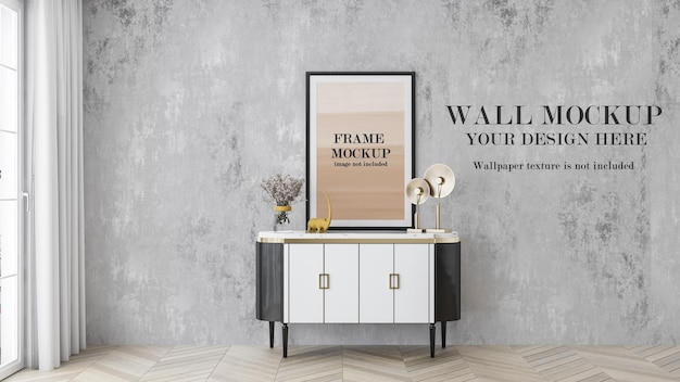 Art deco style interior wall and poster frame mockup