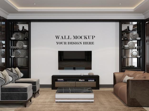 アールデコスタイルのリビングルームの壁のモックアップ3dレンダリング