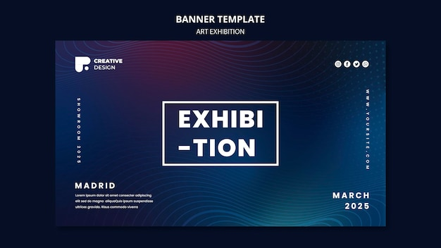 Art exhibition abstract banner template