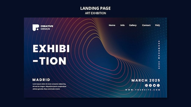 Art exhibition abstract landing page template Free Psd
