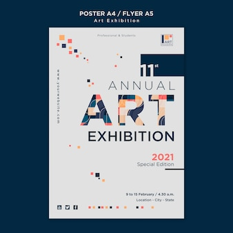 Шаблон плаката концепции художественной выставки