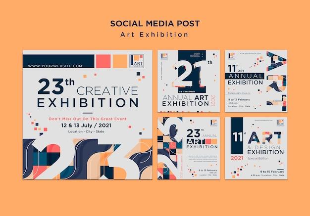 Modello di post sui social media di concetto di mostra d'arte