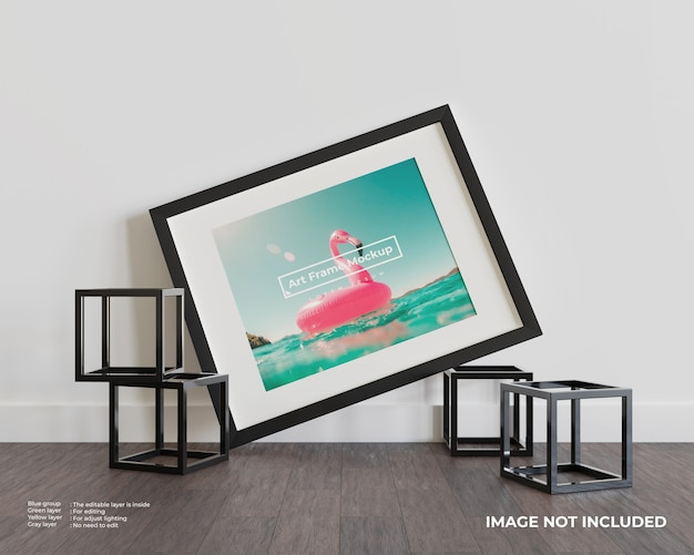 Art frame mockup on dark wood floor