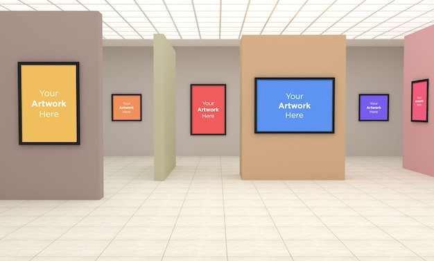 Art gallery frames muckup 3d illustration and 3d rendering with different wall