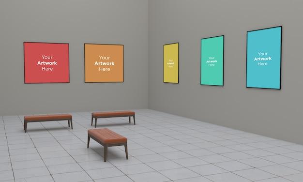 アートギャラリーフレームmuckup 3dイラストレーションと3dレンダリングコーナービュー