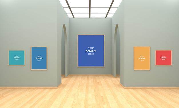 アートギャラリーフレームmuckup 3dイラストレーションとアーチによる3dレンダリング