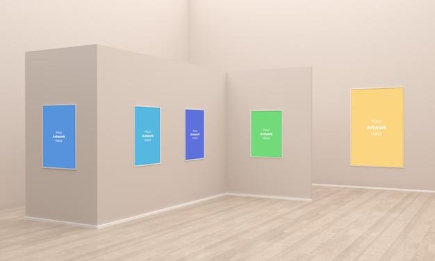 아트 갤러리 프레임 muckup 3d 일러스트 및 다른 벽으로 3d 렌더링