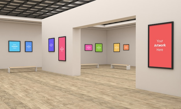 Art gallery frames muckup multi directions 3d illustration and 3d rendering