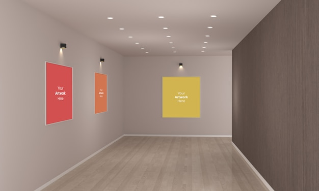 Art gallery frames muckup with spot lights 3d illustration and 3d rendering