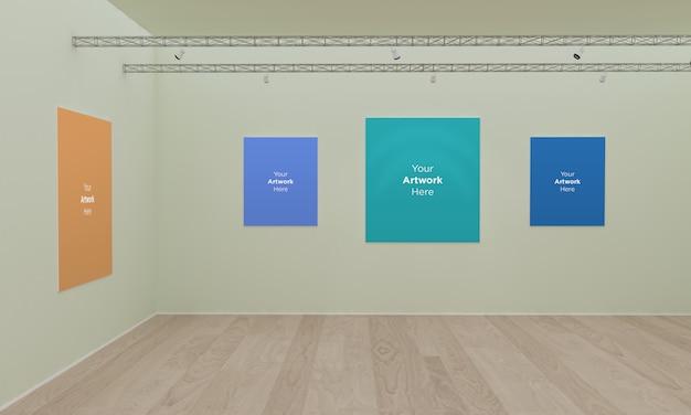 Art gallery multi frames muckup 3d illustration and 3d rendering