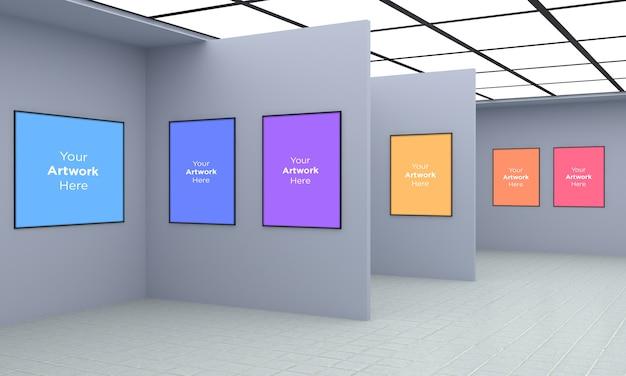 アートギャラリーマルチフレームmuckup 3dイラストレーションと3dレンダリング