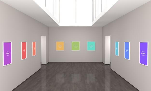 아트 갤러리 멀티 프레임 muckup 3d 일러스트레이션 및 3d 렌더링