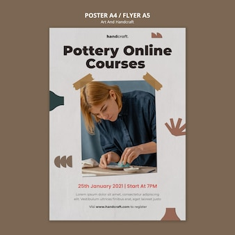 Art and handcraft poster template Free Psd