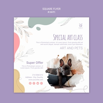 Art and pet flyer concept template