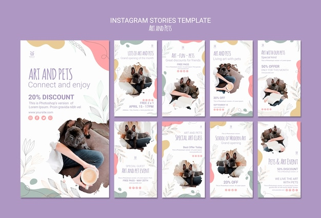 Art and pet instagram stories template