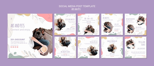 Art and pet social media post template