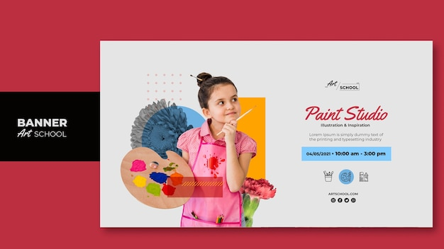 Art school banner template with photo