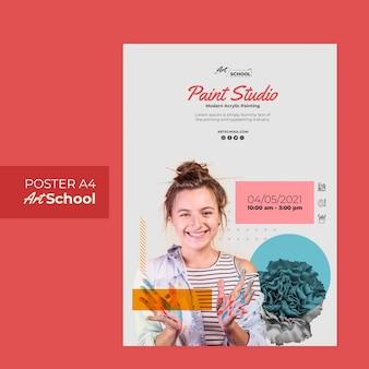 Шаблон флаера художественной школы Бесплатные Psd