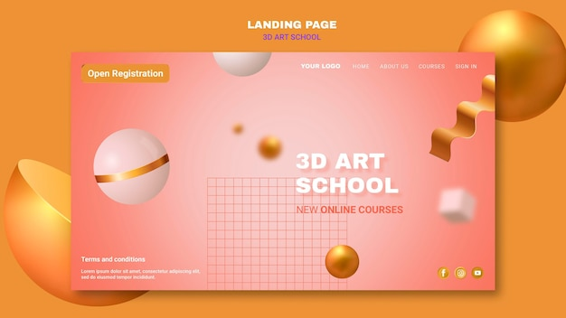 Art school  landing page template