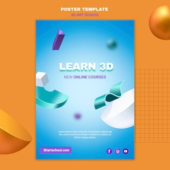 Art school learn 3d poster template