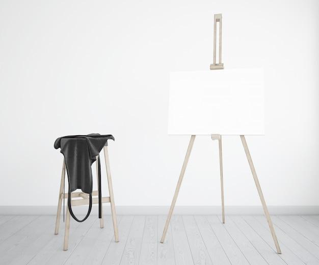 Studio d'arte con tela e grembiule