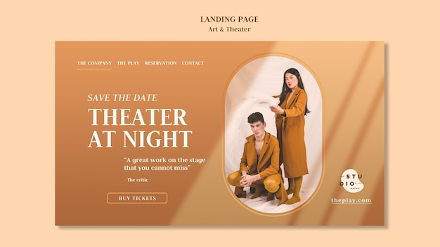 Art and theater ad landing page template