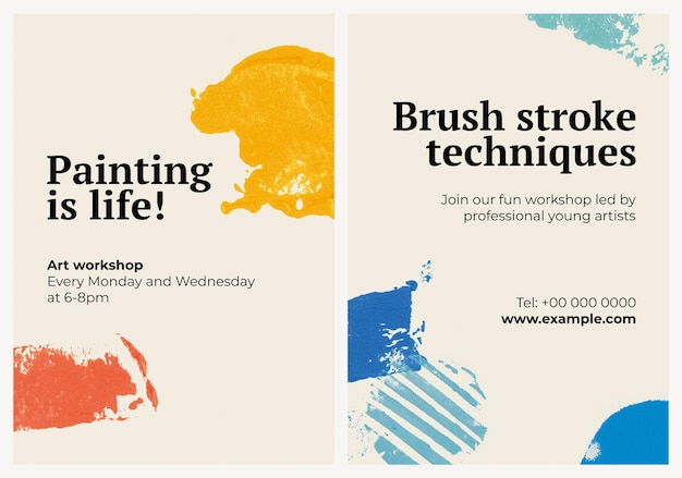 Art workshop poster template psd with stamp pattern set
