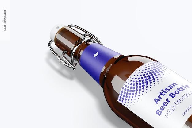 Artisan beer bottle mockup, close-up