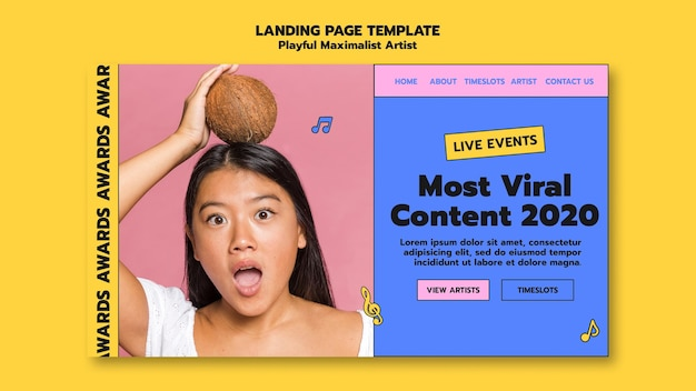 Artist awards landing page template