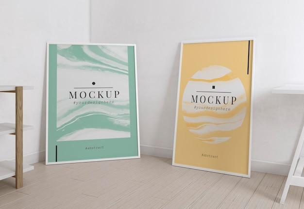 Комната художника оформлена макетами в стиле минимализма