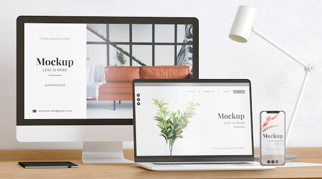 Artist room decorated with responsive website mockup