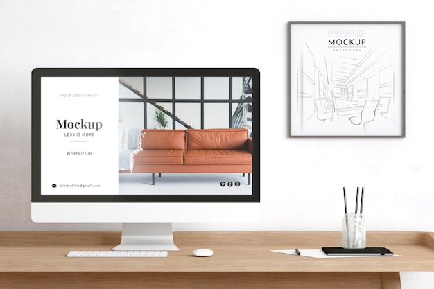 Artist room decorated with website and sketching mockup