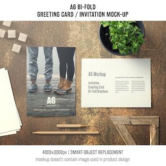 Artistic a6 bi-fold greeting card mockup