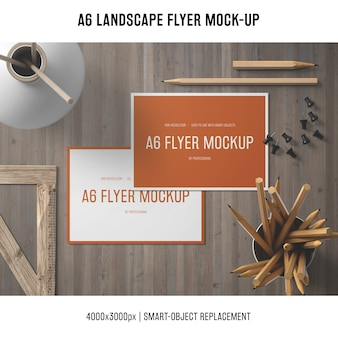 Artistic a6 landscape flyer mock-up