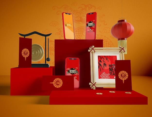 Художественный китайский новый год иллюстрация
