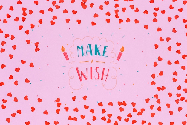Artistic concept with make a wish message
