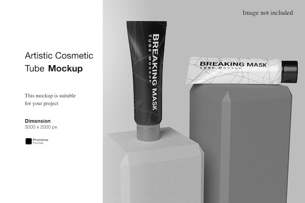 Artistic cosmetic tube mockup