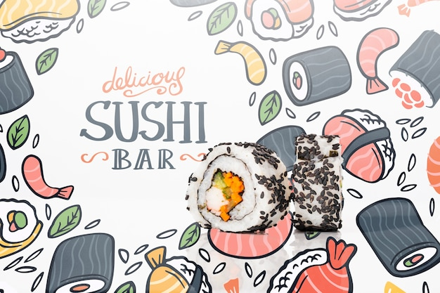 Artistic draw for sushi bar mock-up