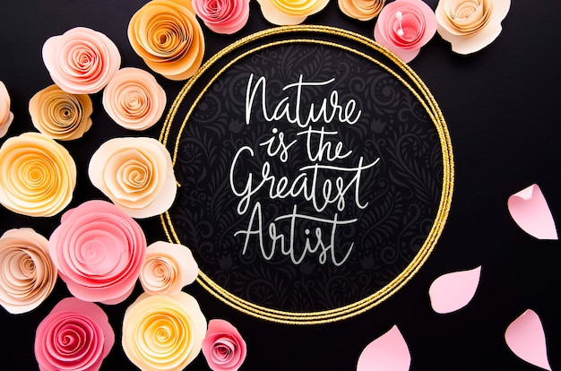 Artistic flowers frame with positive quote