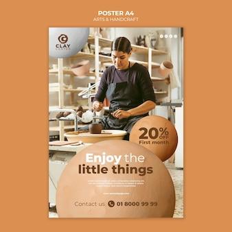割引付きの芸術品や手工芸品のポスター