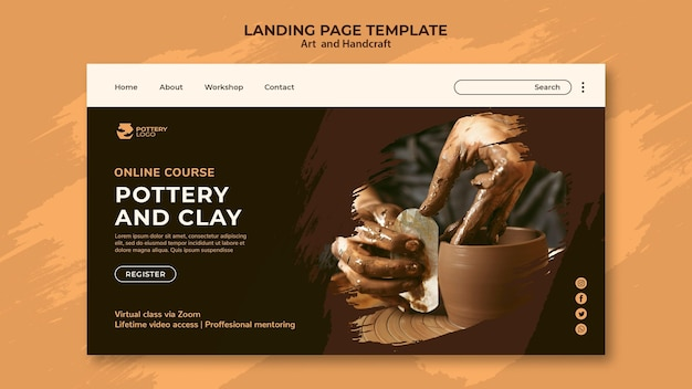 Arts and hand craft landing page Premium Psd