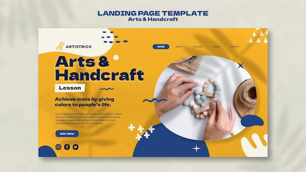 Arts and handcraft landing page design template