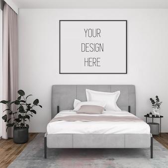 アートワークモックアップ、水平フレーム付きのベッドルーム、北欧インテリア