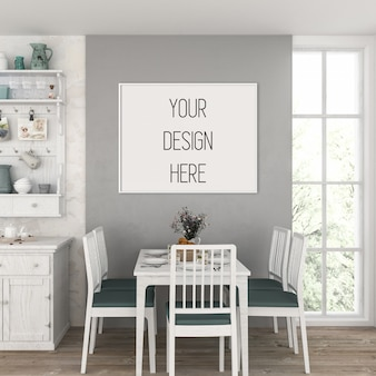 Artwork mockup, kitchen with horizontal frame
